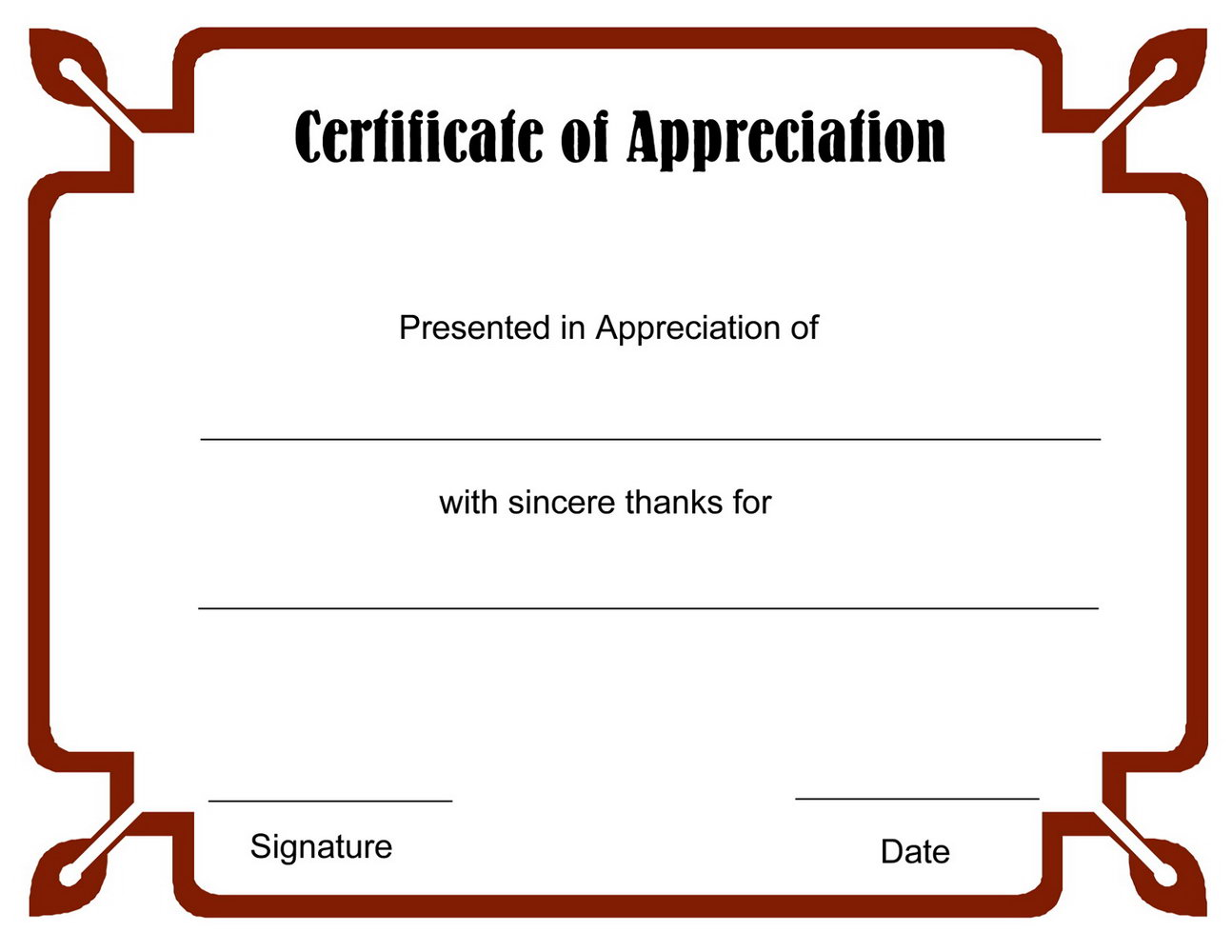 Editable Certificate Of Appreciation Templates