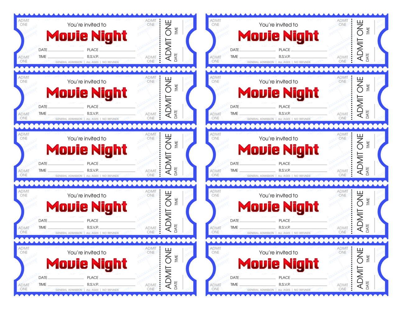 Editable Movie Ticket Invitation Template