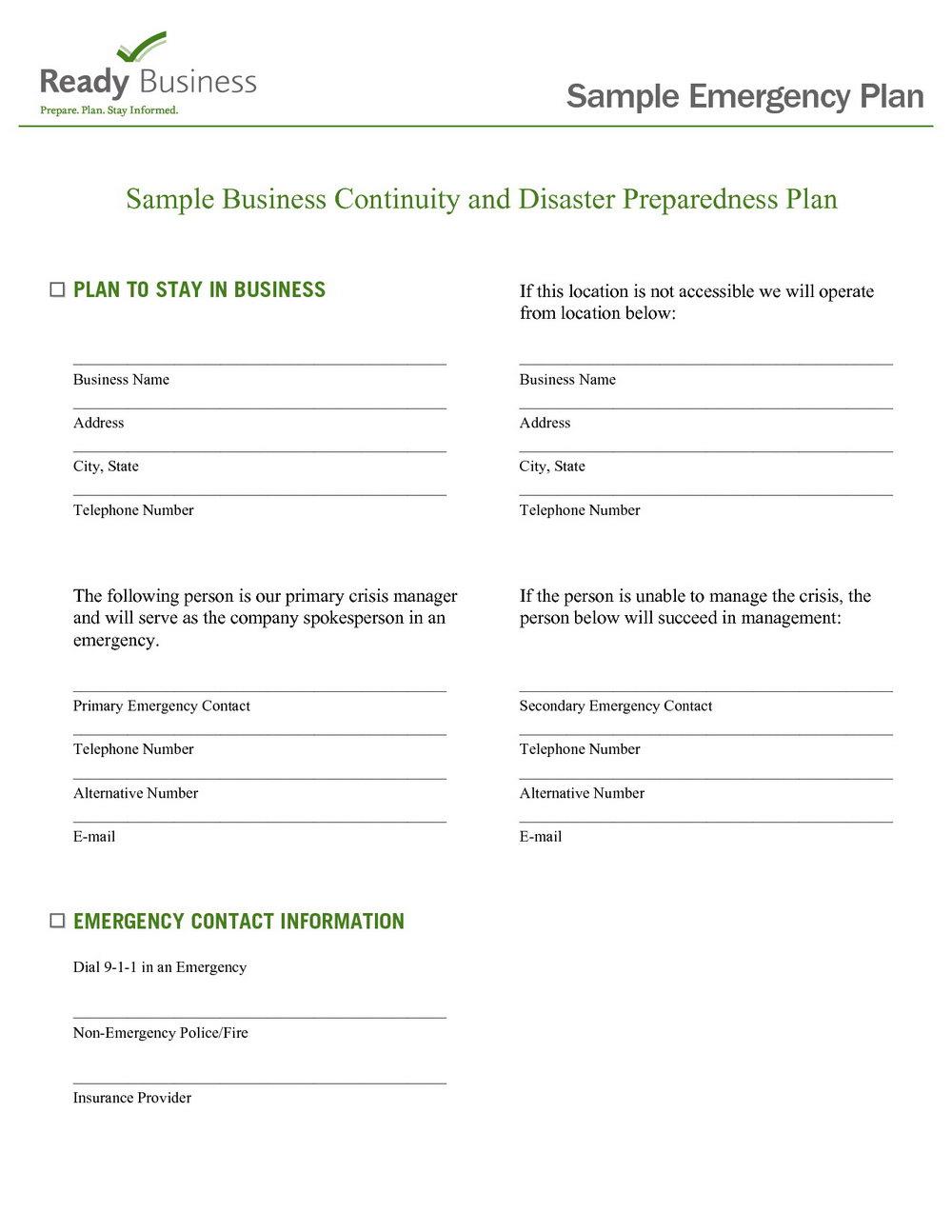 Emergency Preparedness Plan Template For Daycare