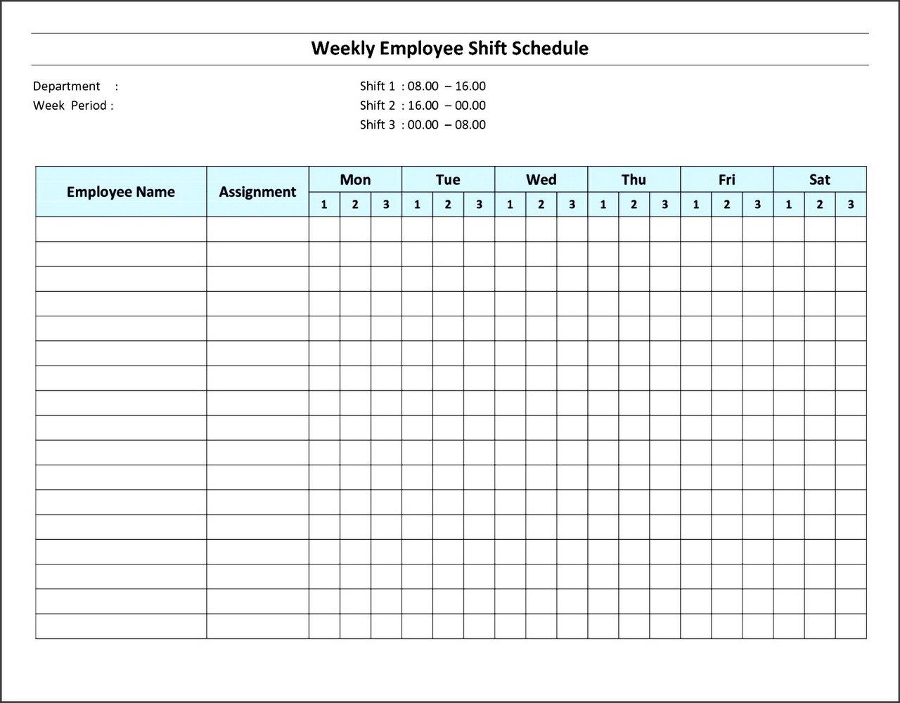 Employee Weekly Work Schedule Template