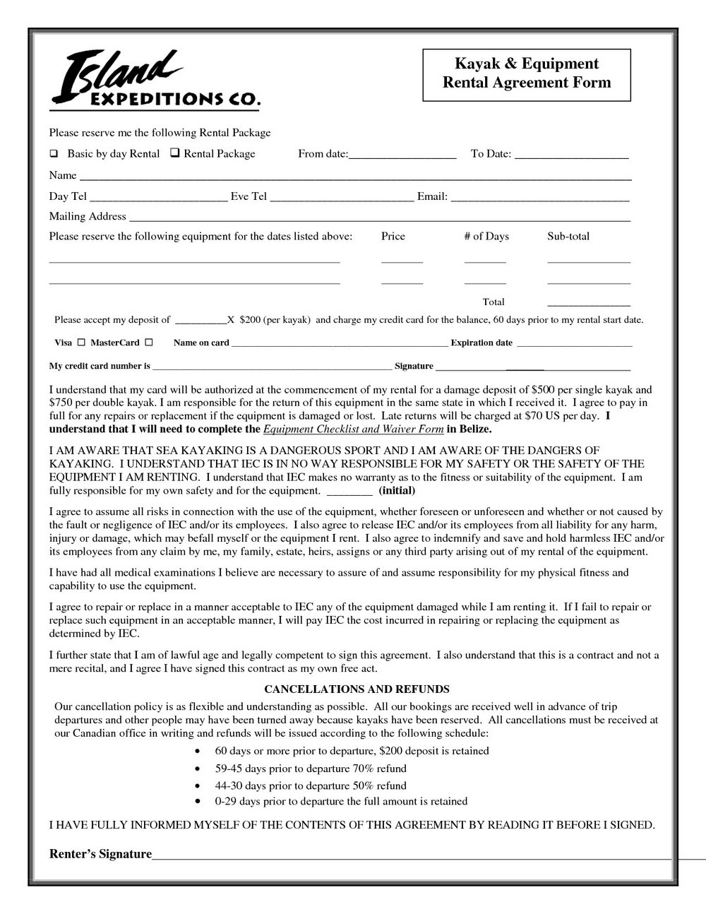 Equipment Rental Agreement Template Free