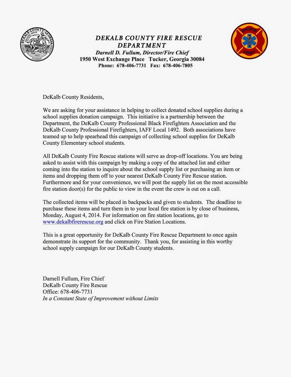 Fire Department Donation Request Letter Template