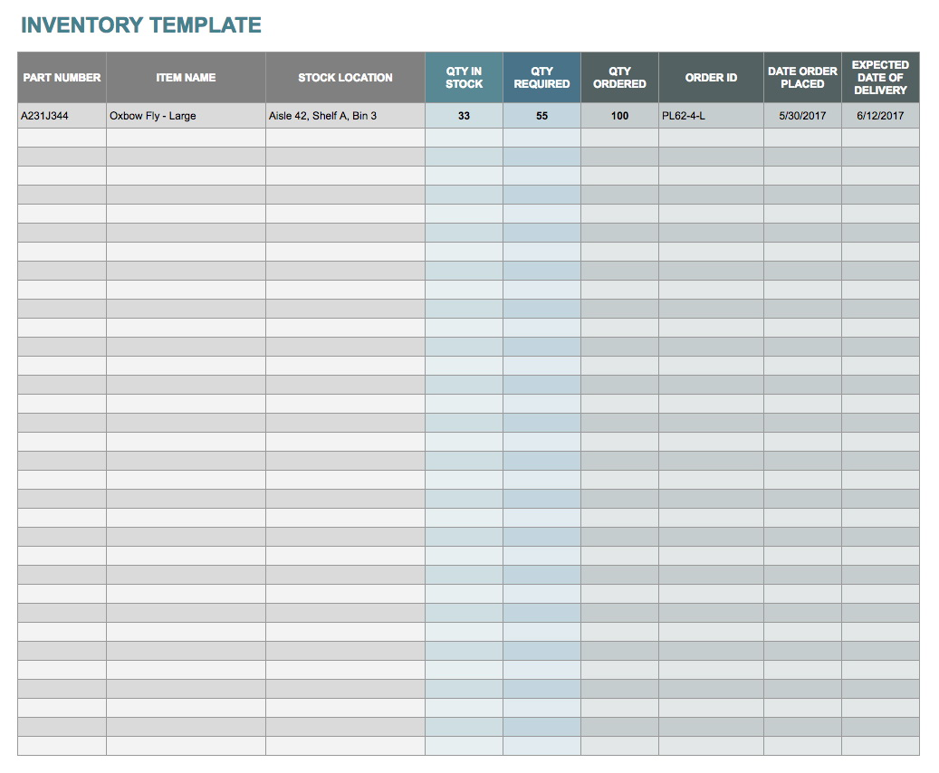 Food Inventory List Template