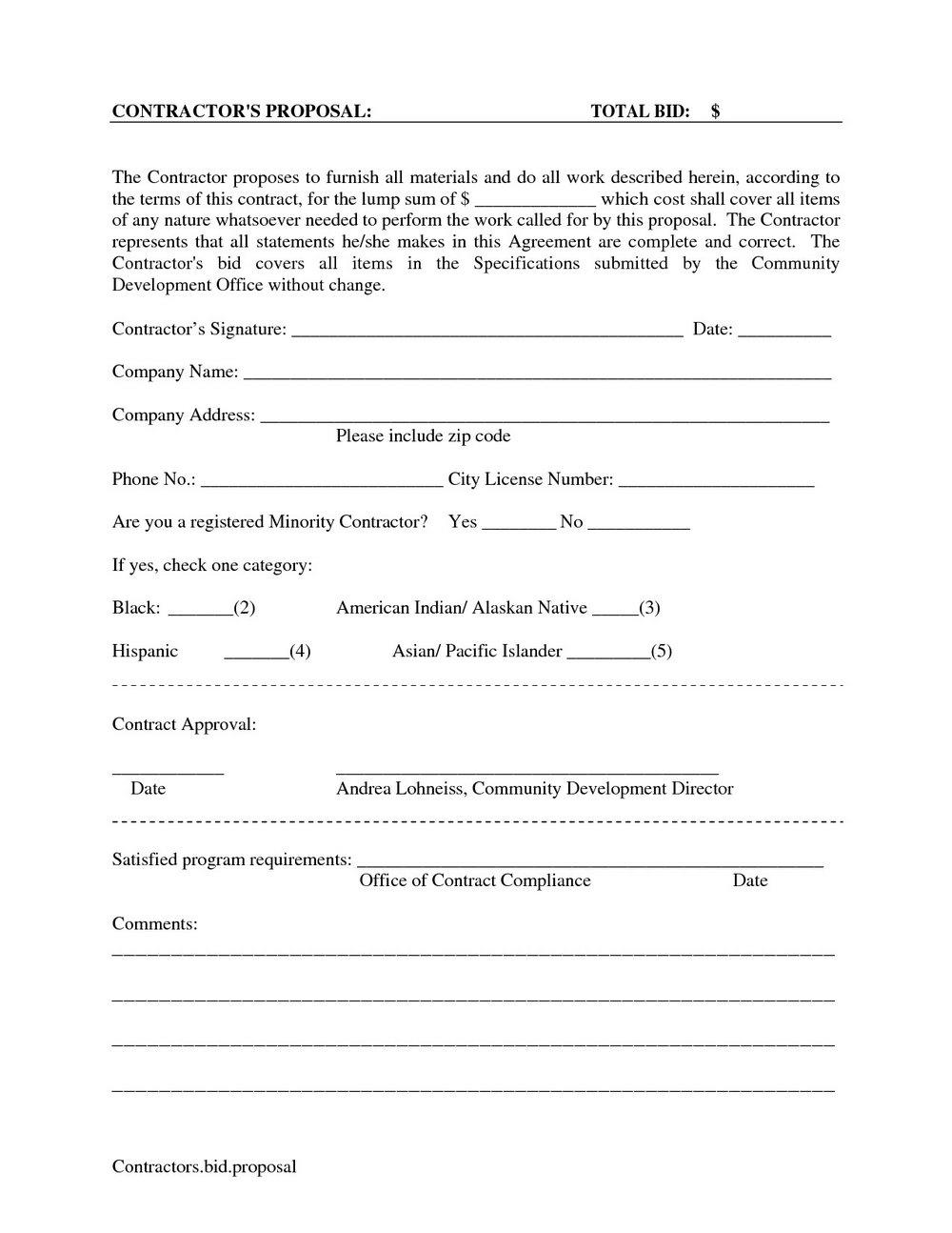 Free Bid Proposal Template