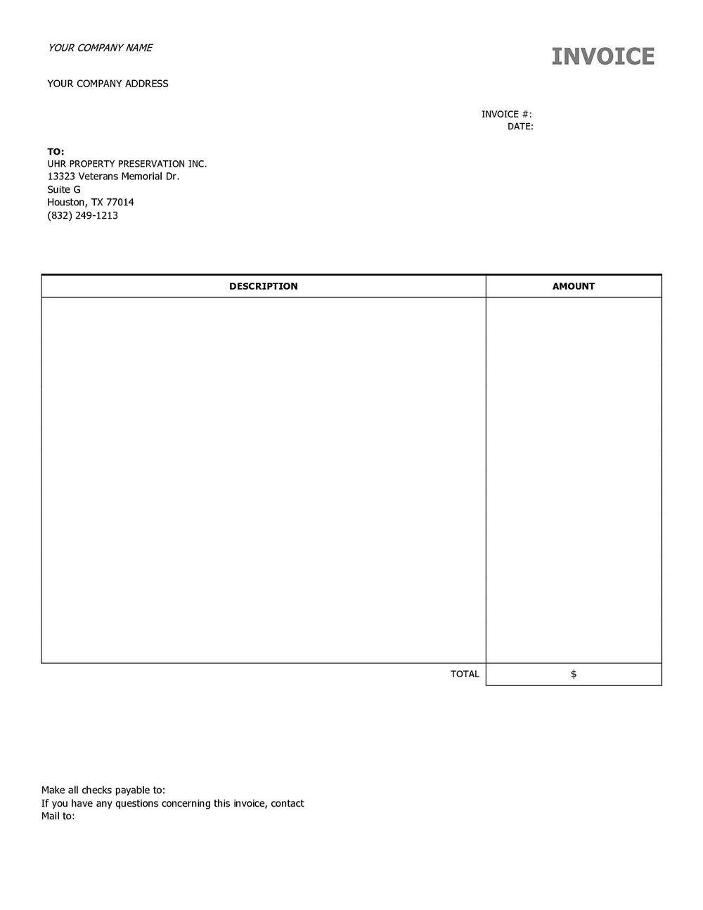Free Blank Invoice Template Pdf