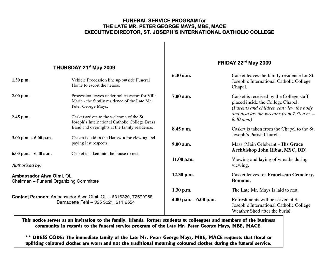 Free Catholic Funeral Service Program Template