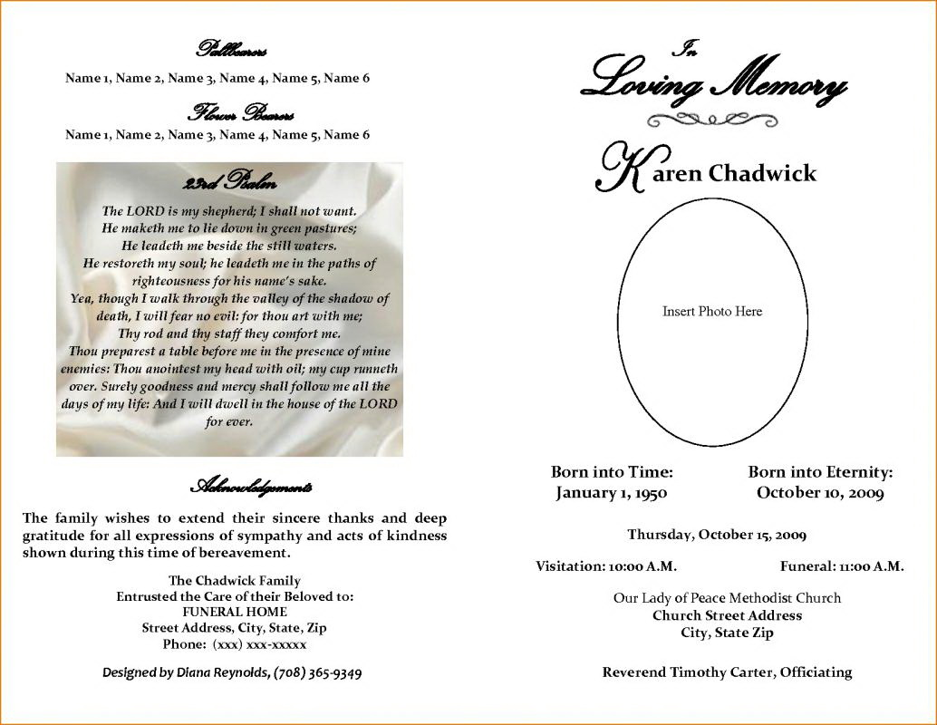 Free Downloadable Funeral Program Templates