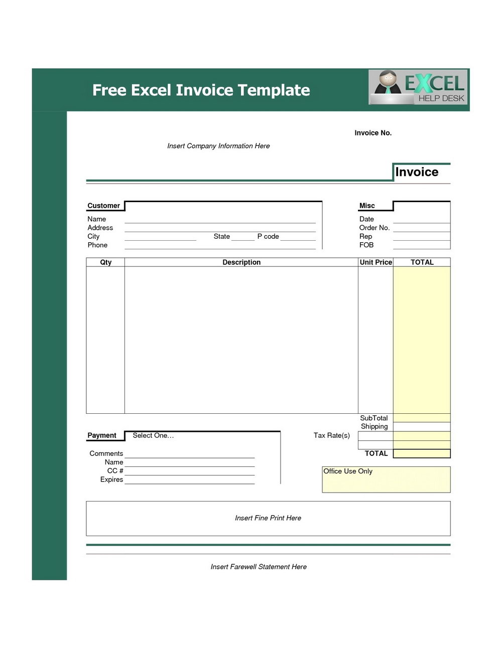 Free Editable Invoice Template