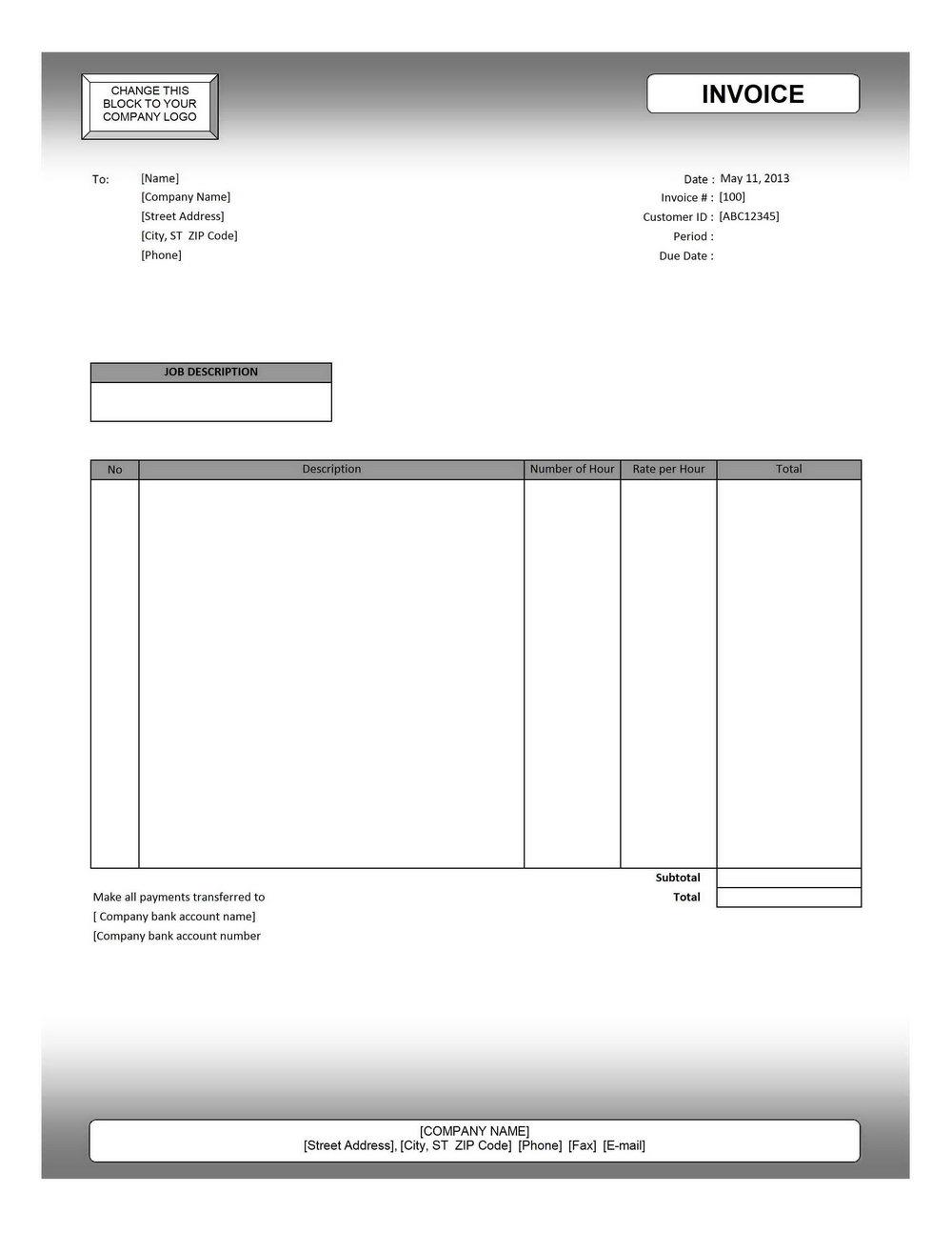 Free Editable Invoice Template Pdf