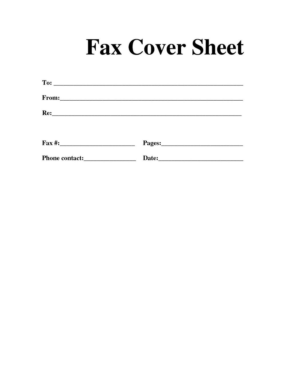 Free Fax Template Printable