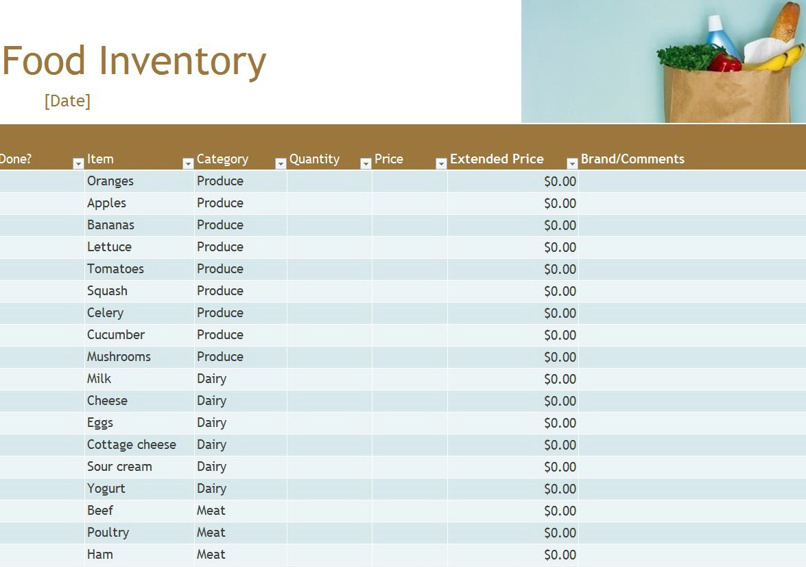 Free Food Inventory Template