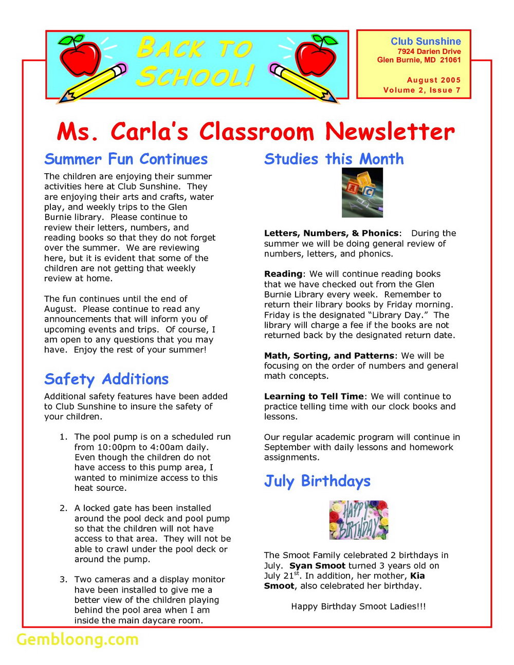 Free Preschool Newsletter Templates For Microsoft Word