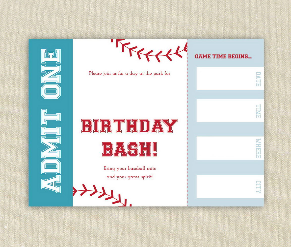Free Printable Baseball Ticket Template
