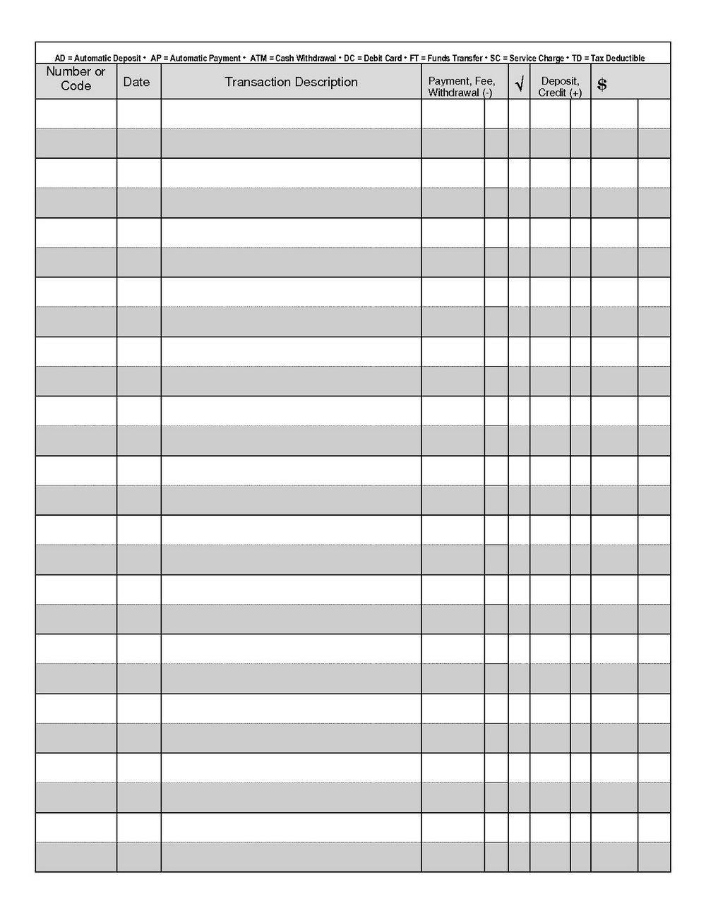 Free Printable Check Register Templates
