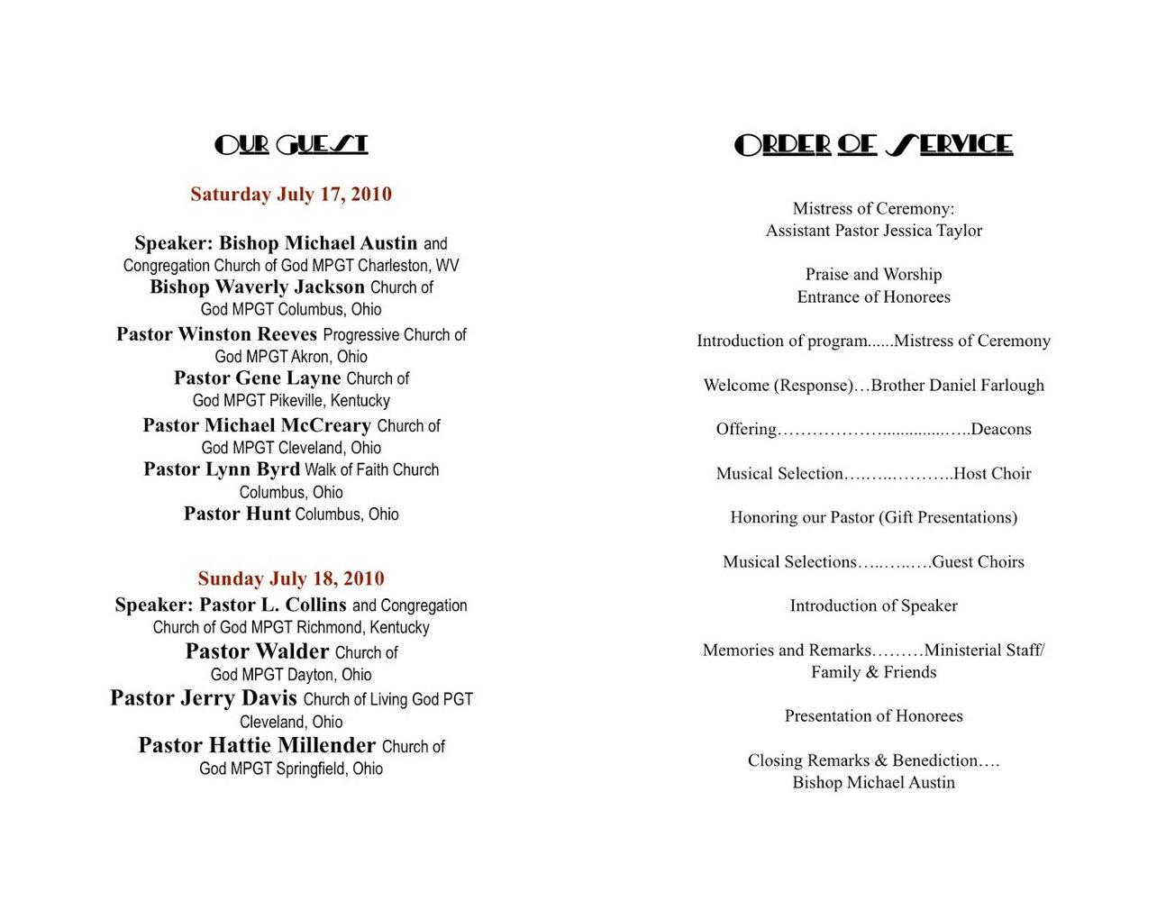 Free Printable Church Anniversary Program Template