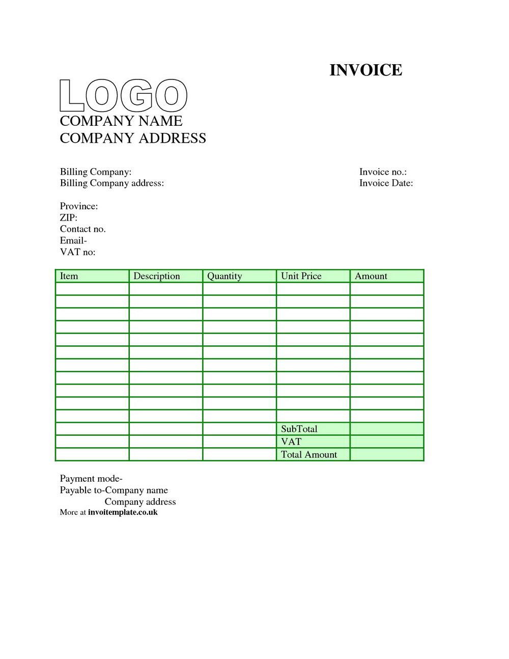Free Printable Invoice Templates Excel