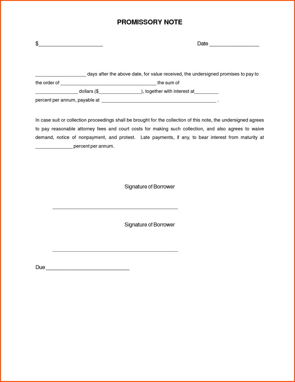Free Promissory Note Template Word