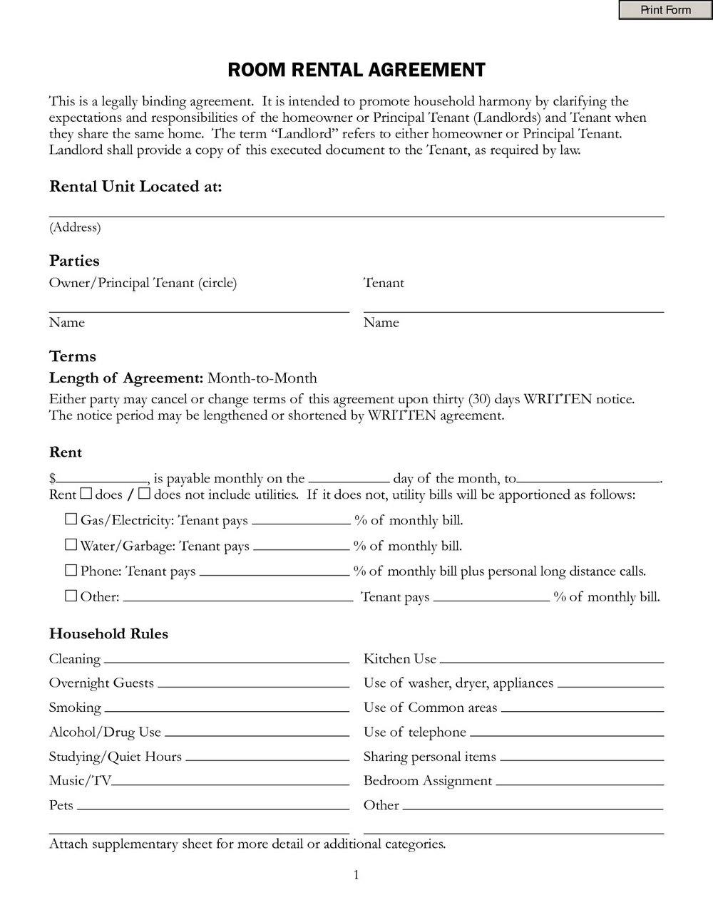 Free Room Rental Agreement Template Word