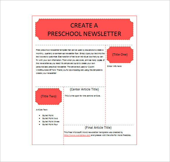 Free School Newsletter Templates Word