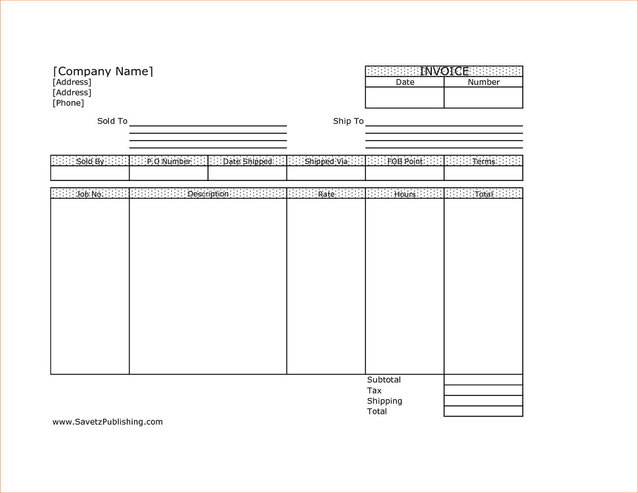 Freelance Invoice Template Word