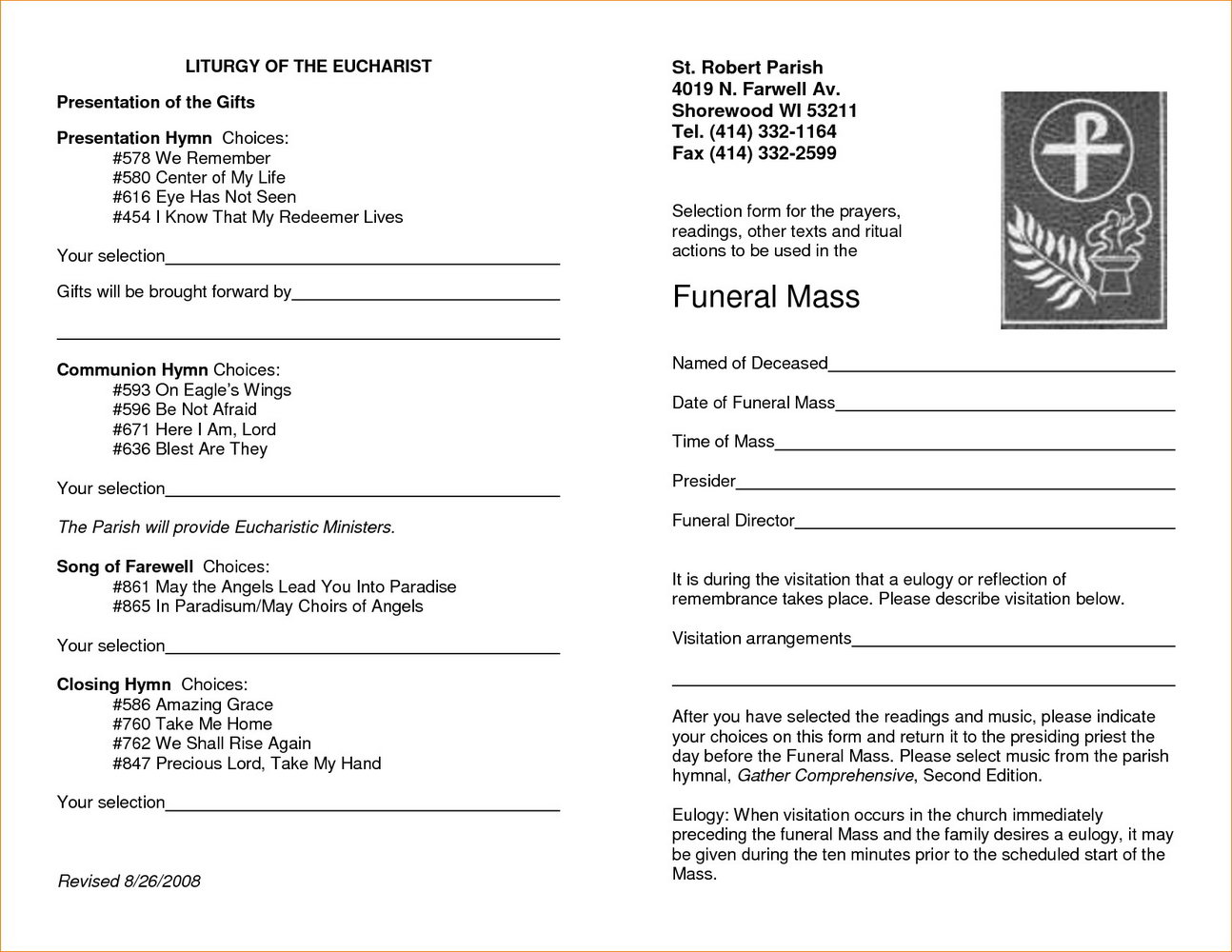 Funeral Service Program Template Word Free