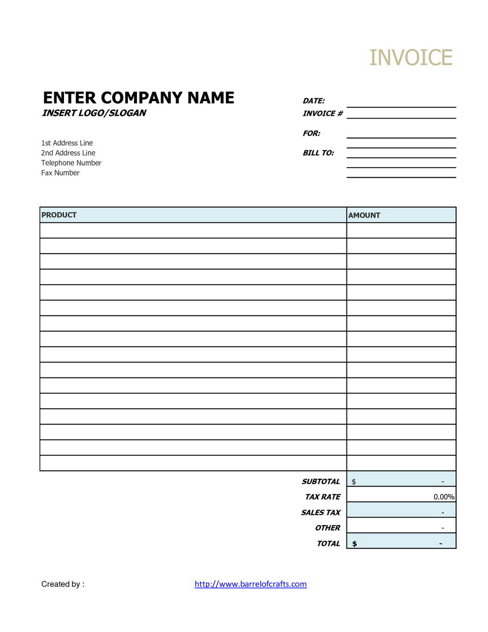 Generic Invoice Template Word