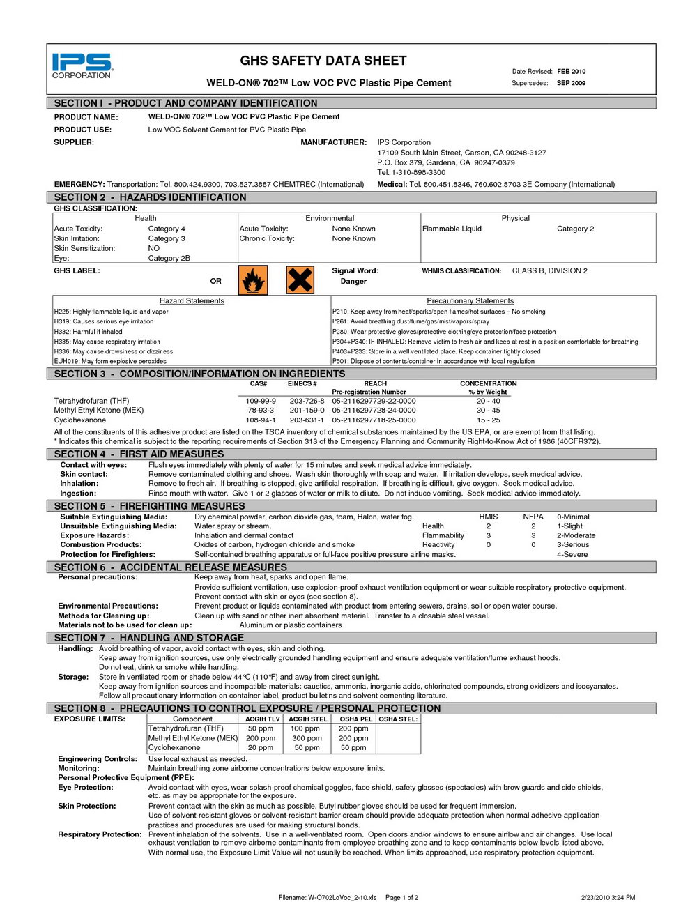 Ghs Sds Template