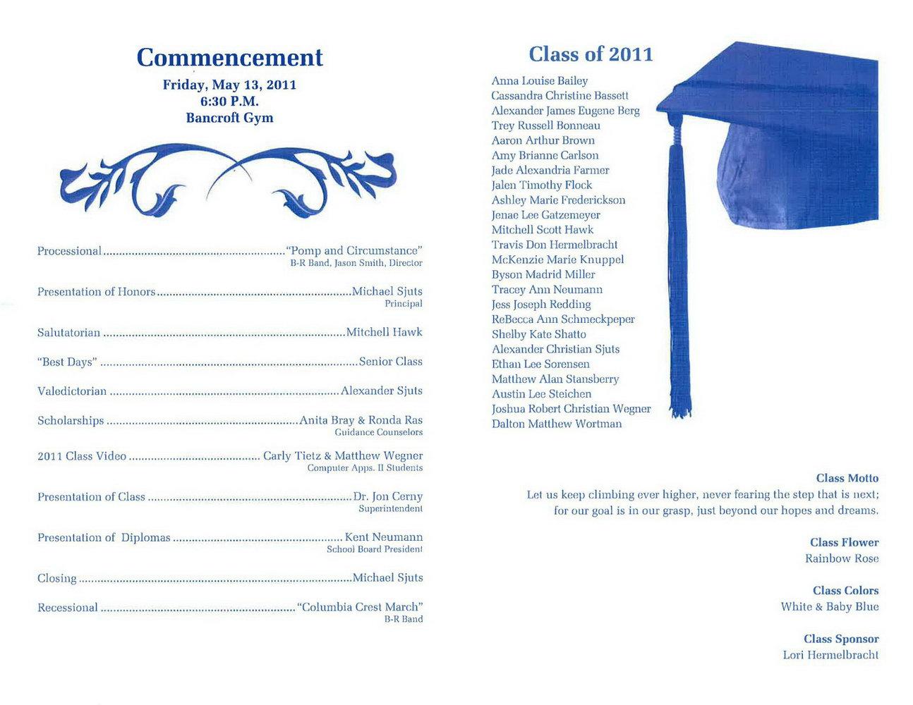 Graduation Ceremony Program Template