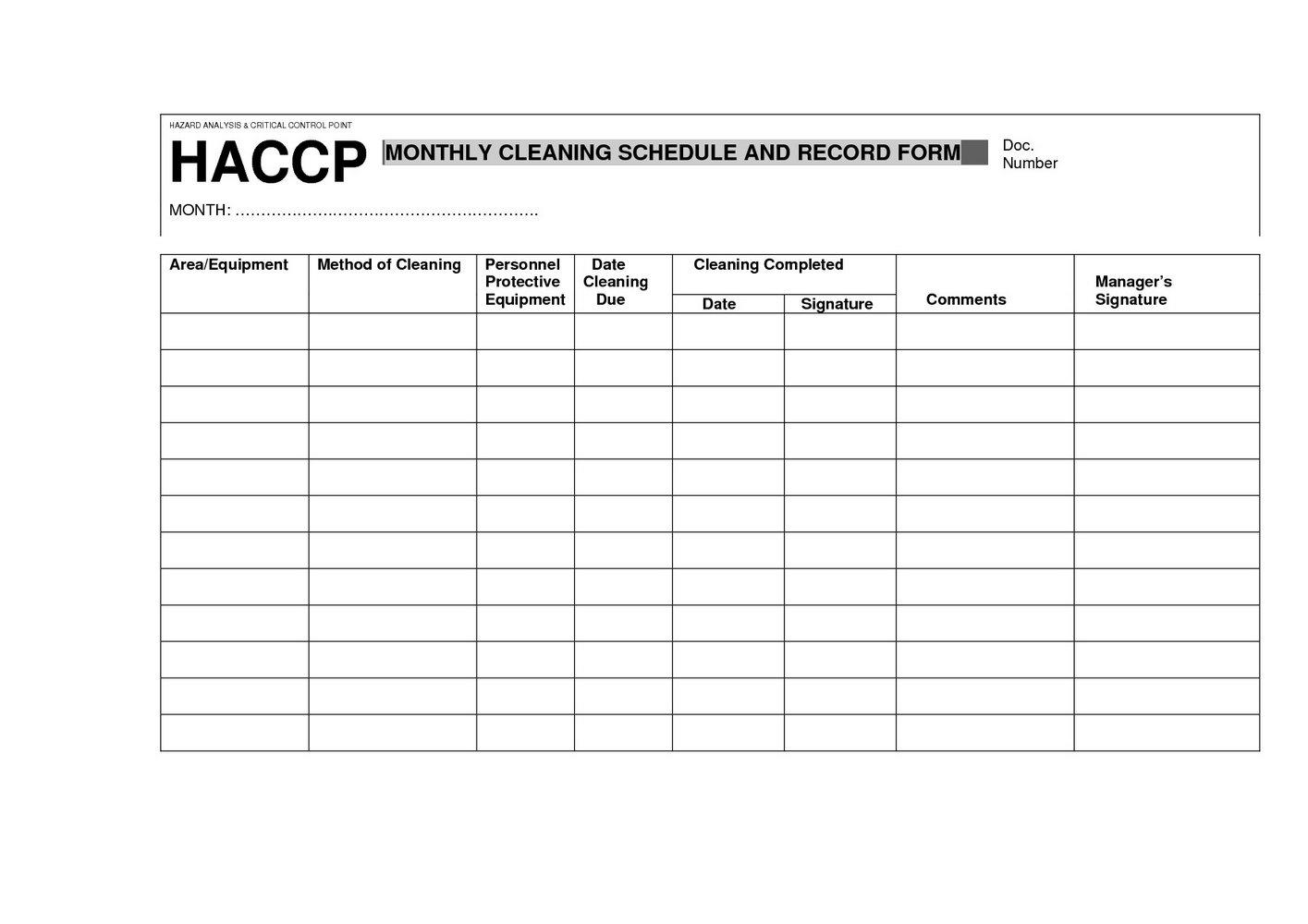 Haccp Plan Template Fda