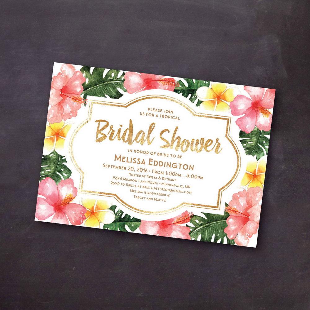 Hawaiian Bridal Shower Invitations Templates