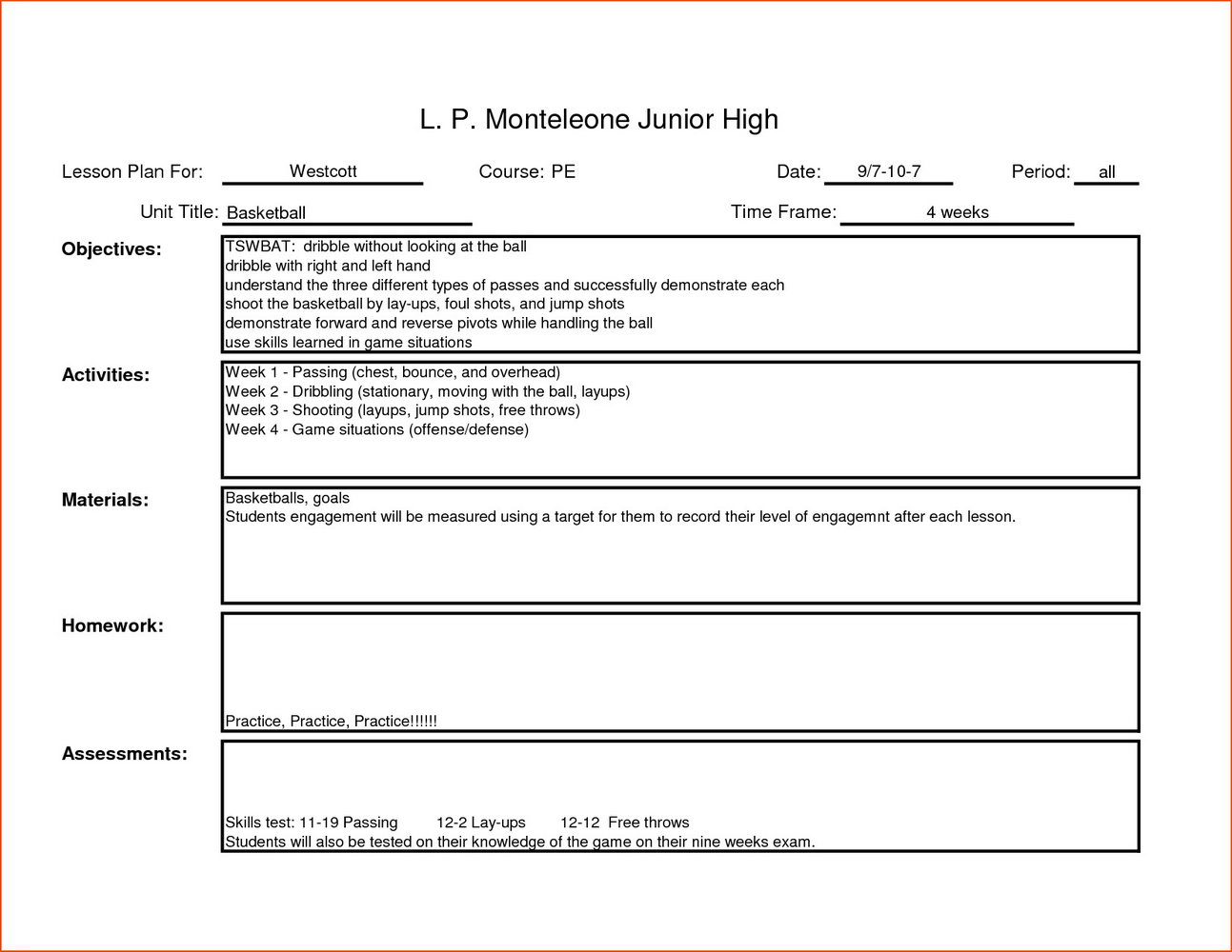 High School Pe Lesson Plan Template