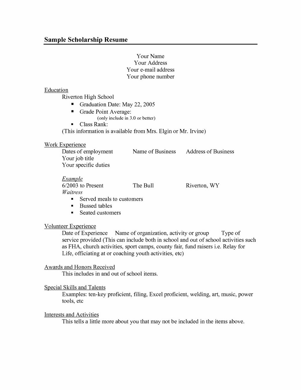 High School Student Resume Templates