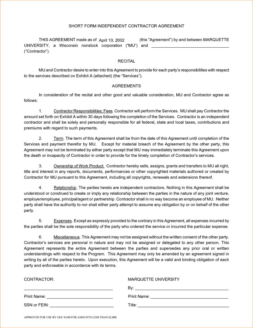 Independent Consultant Contract Template