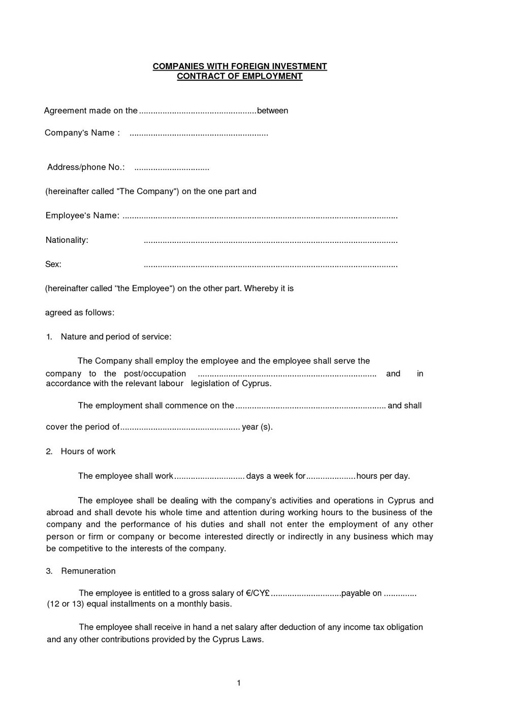 Investment Contract Template Pdf