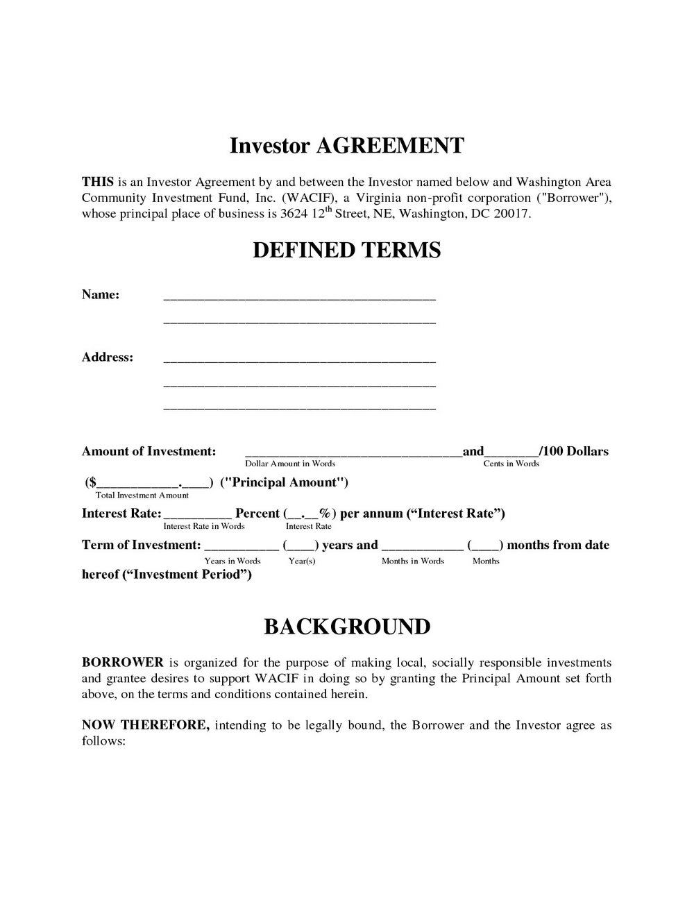 Investment Contract Template Uk