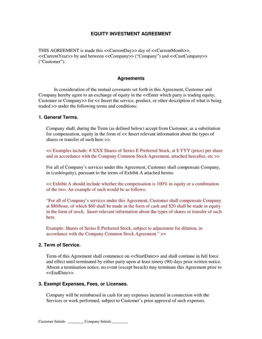 Investor Agreement Template Uk