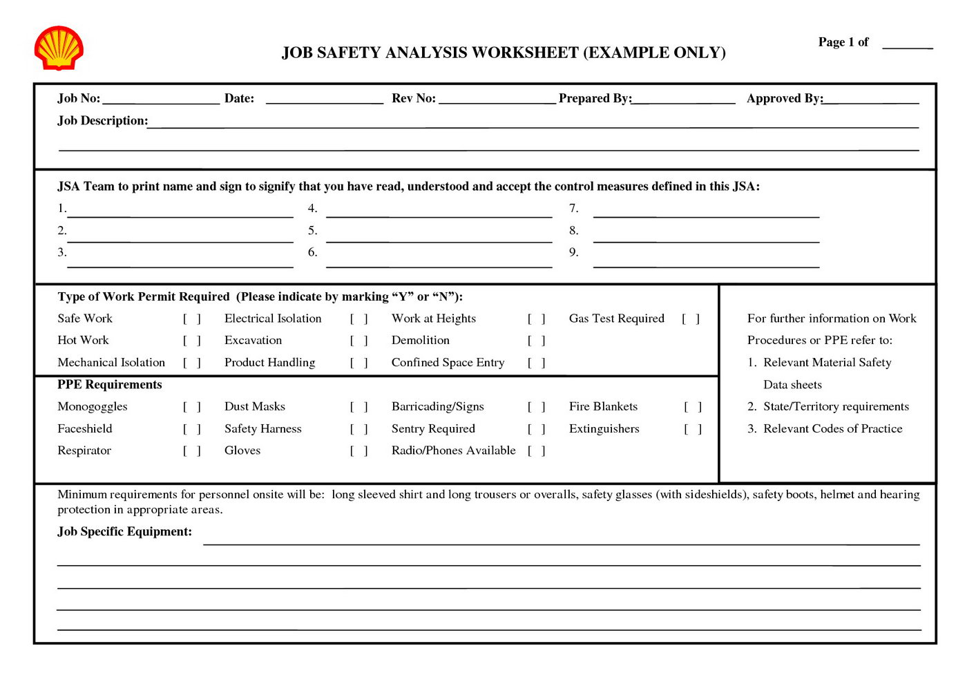 Job Safety Analysis Template Nsw