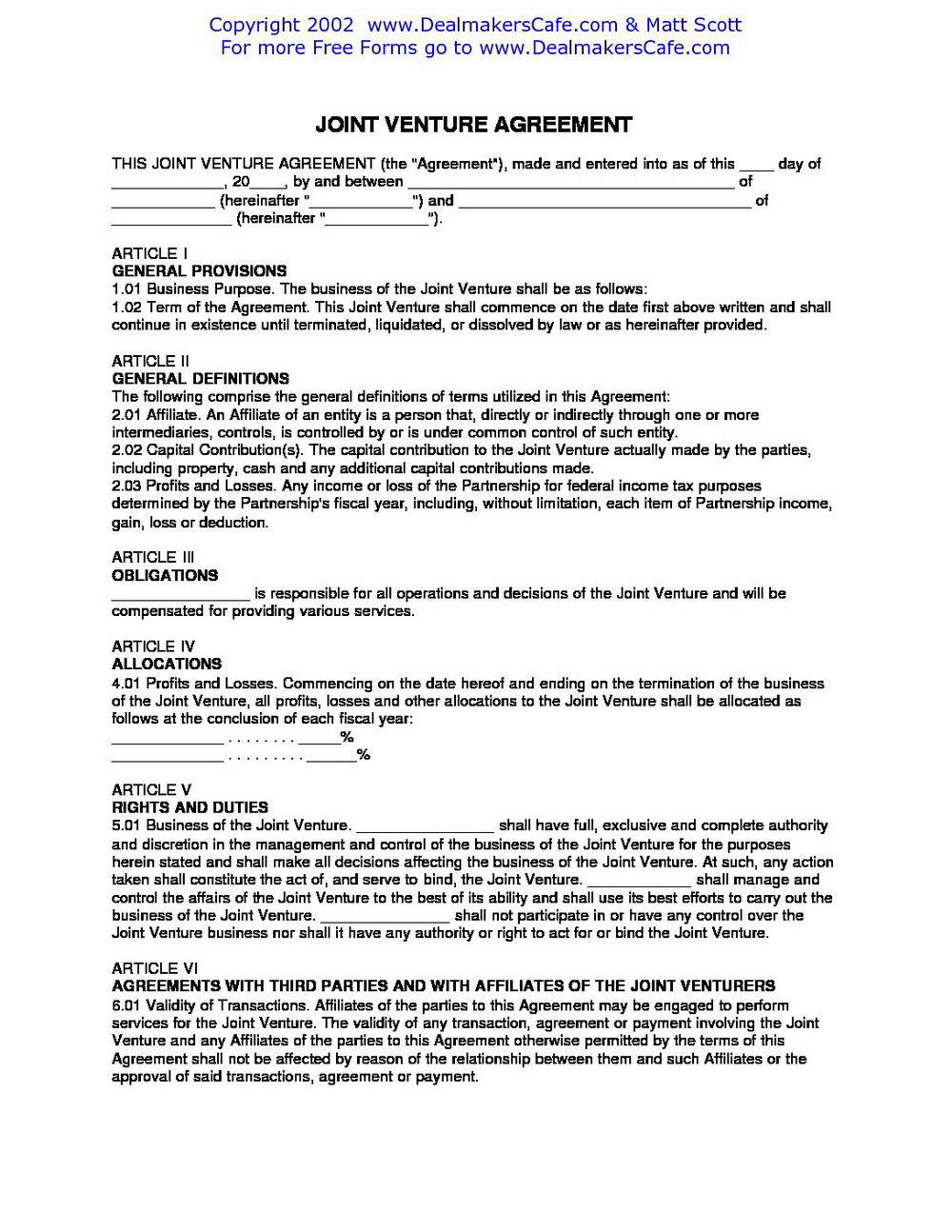Joint Venture Agreement Template Free