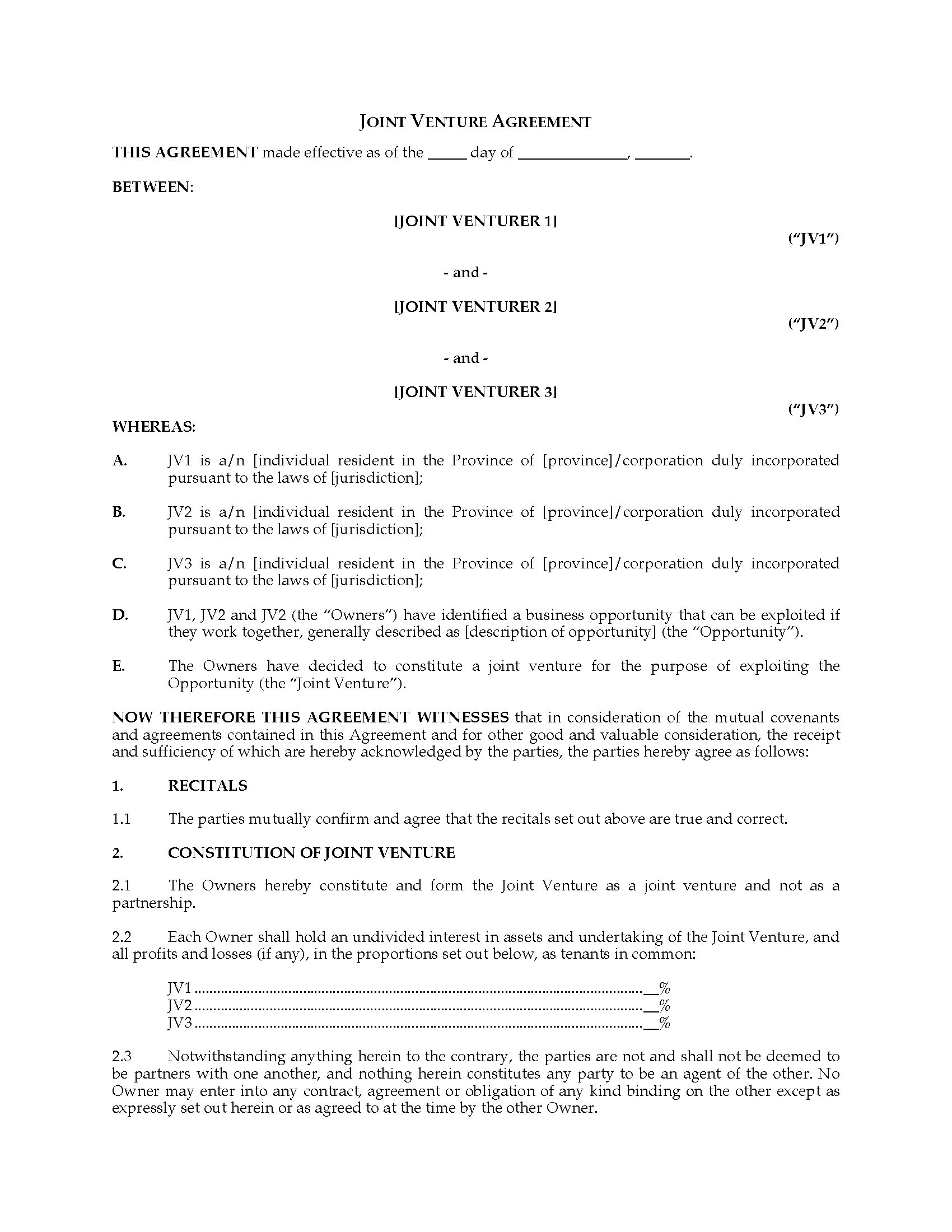 Joint Venture Agreement Template Singapore