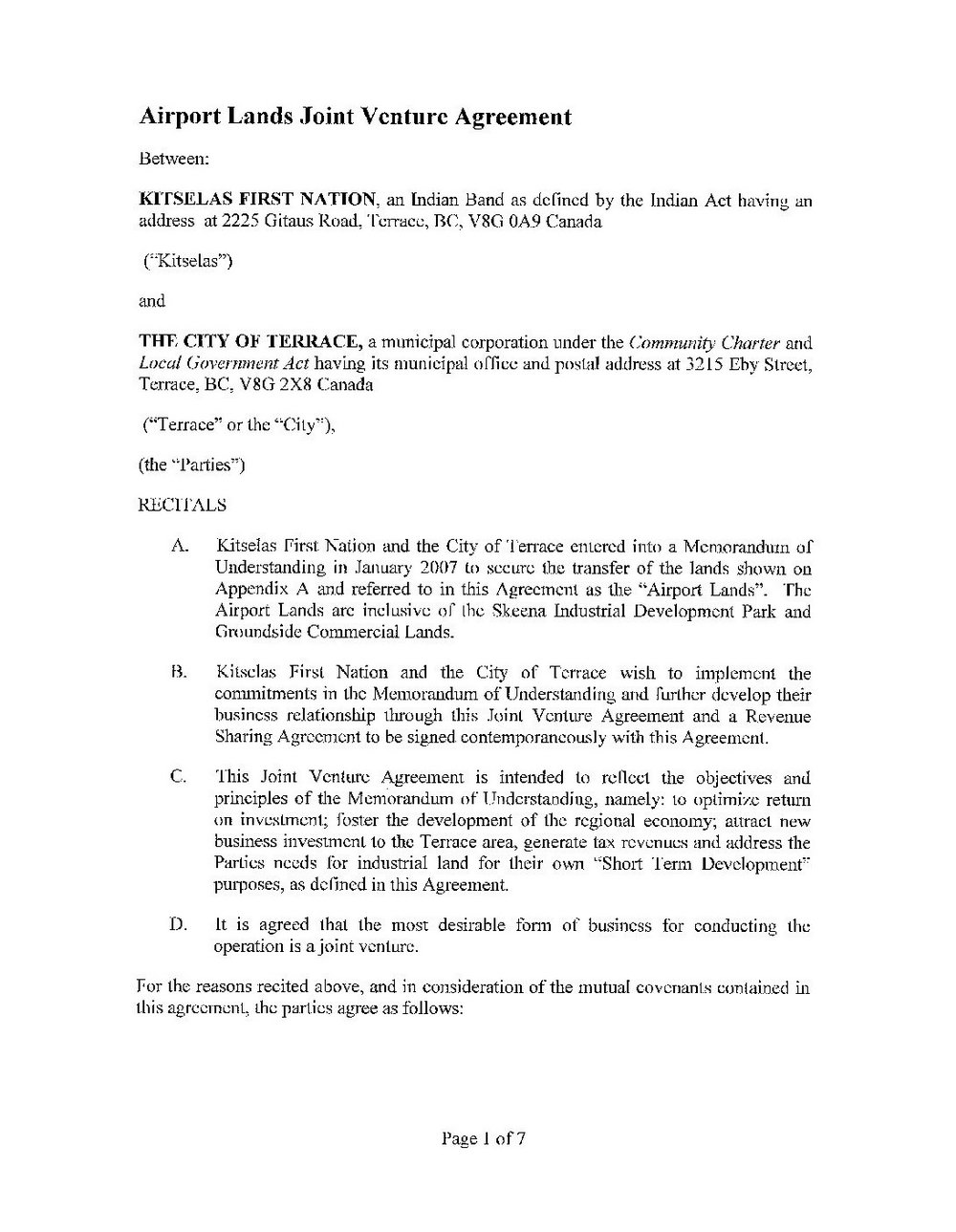 Joint Venture Agreement Template South Africa