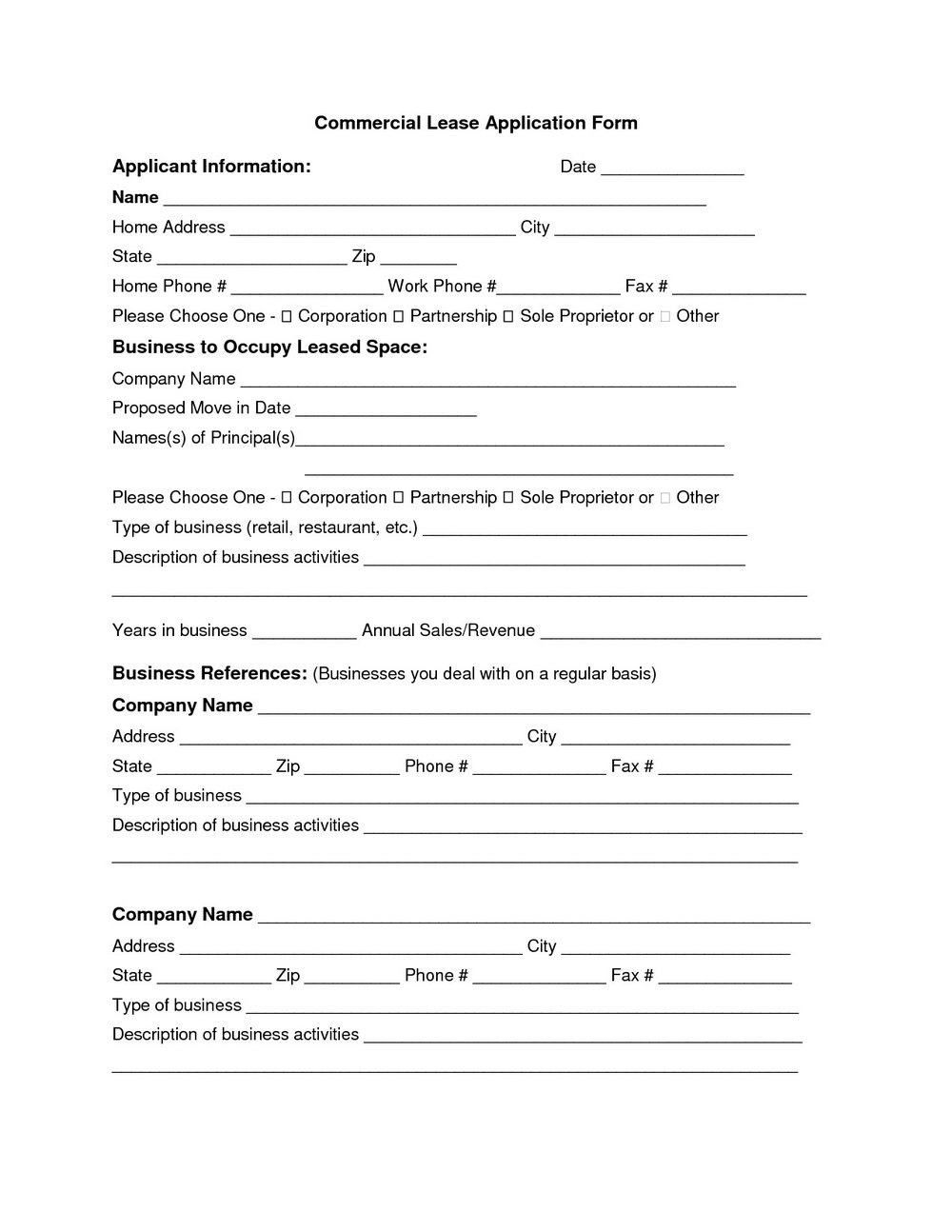 Land Lease Contract Template