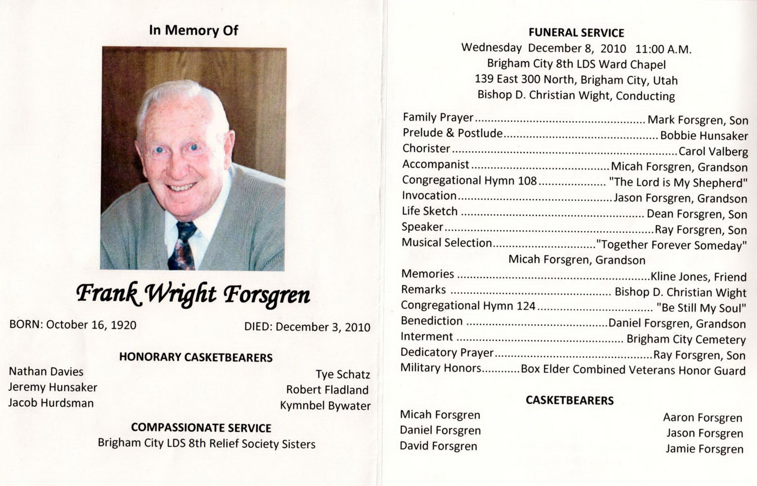 Lds Funeral Service Program Template