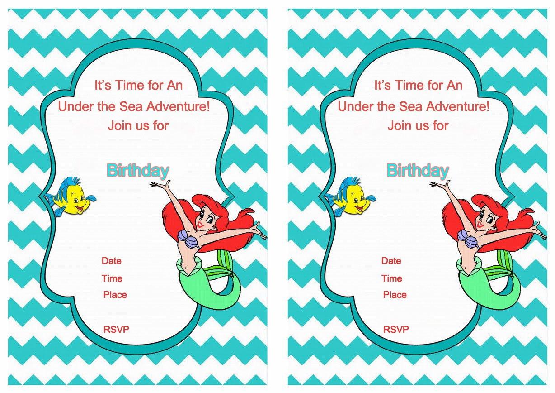 Little Mermaid Birthday Invitation Templates