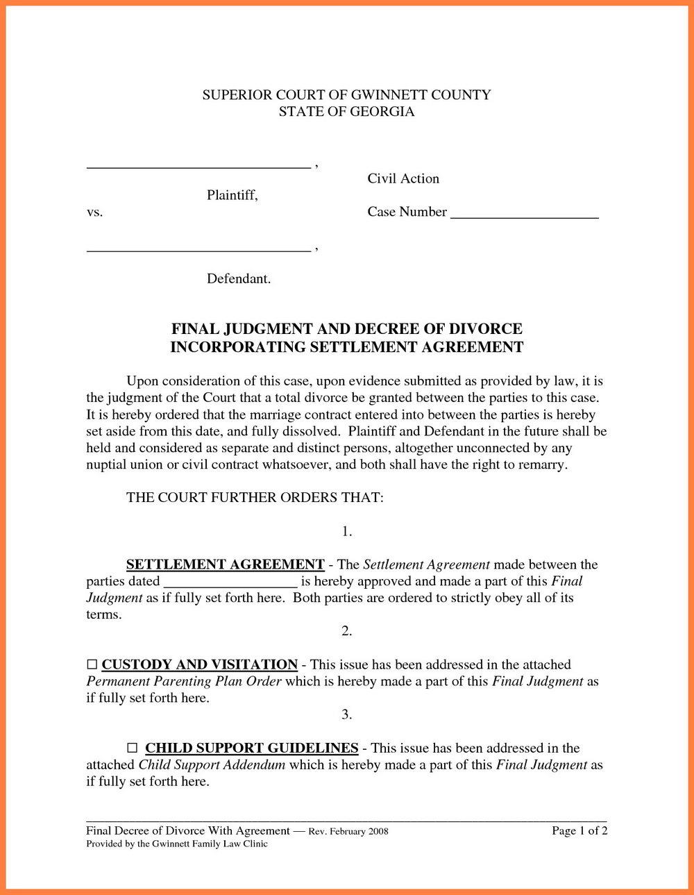 Marital Settlement Agreement Template California