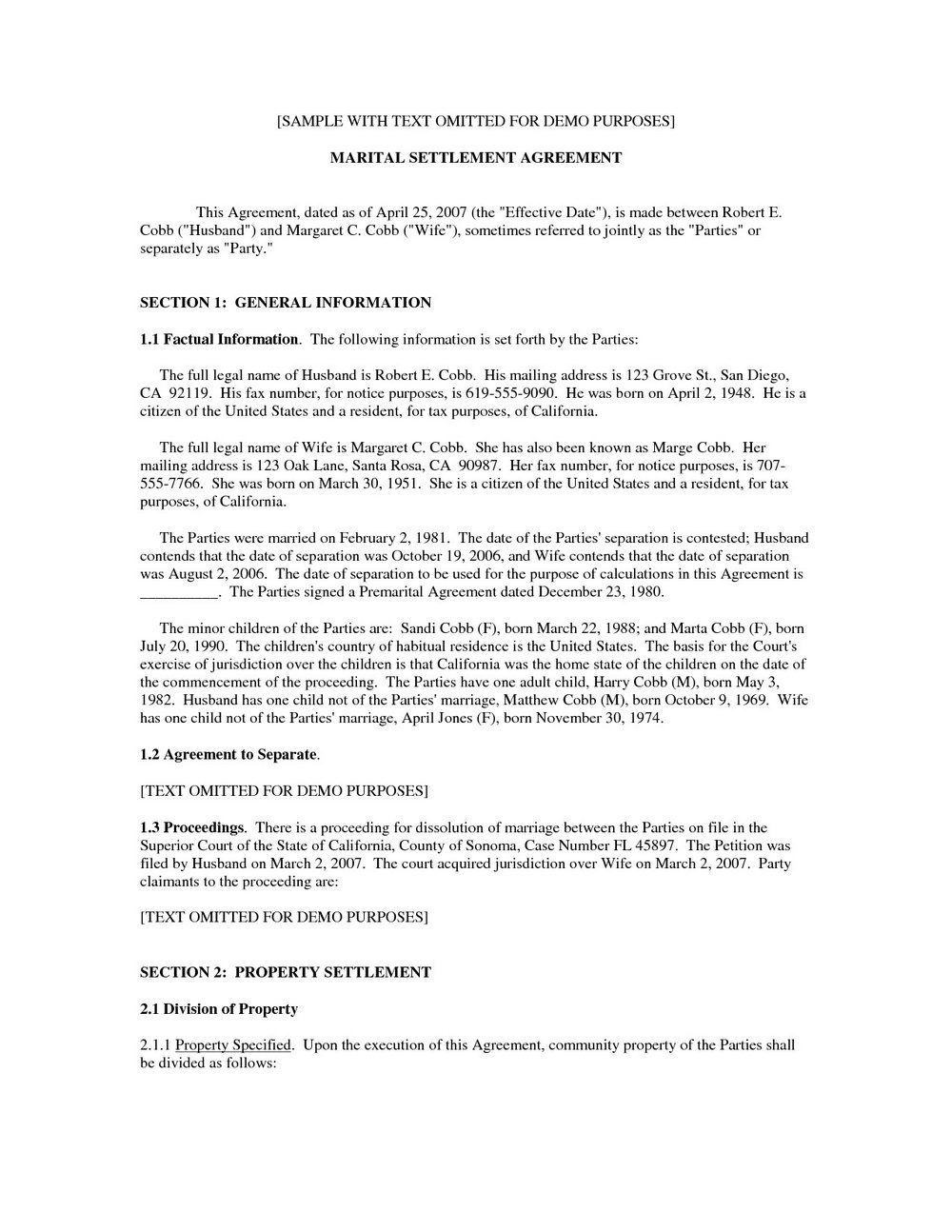 Marital Settlement Agreement Template