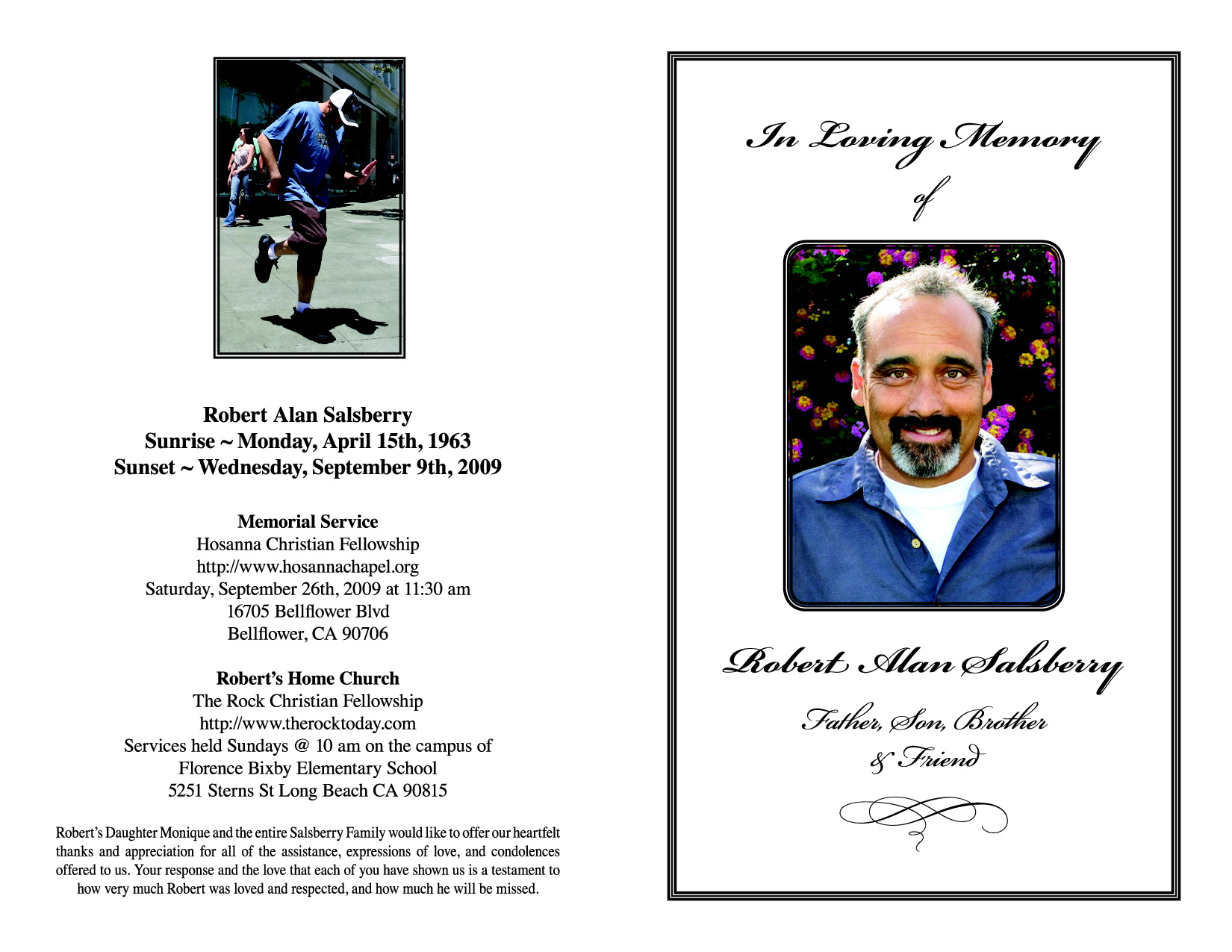 Memorial Templates Funeral Programs