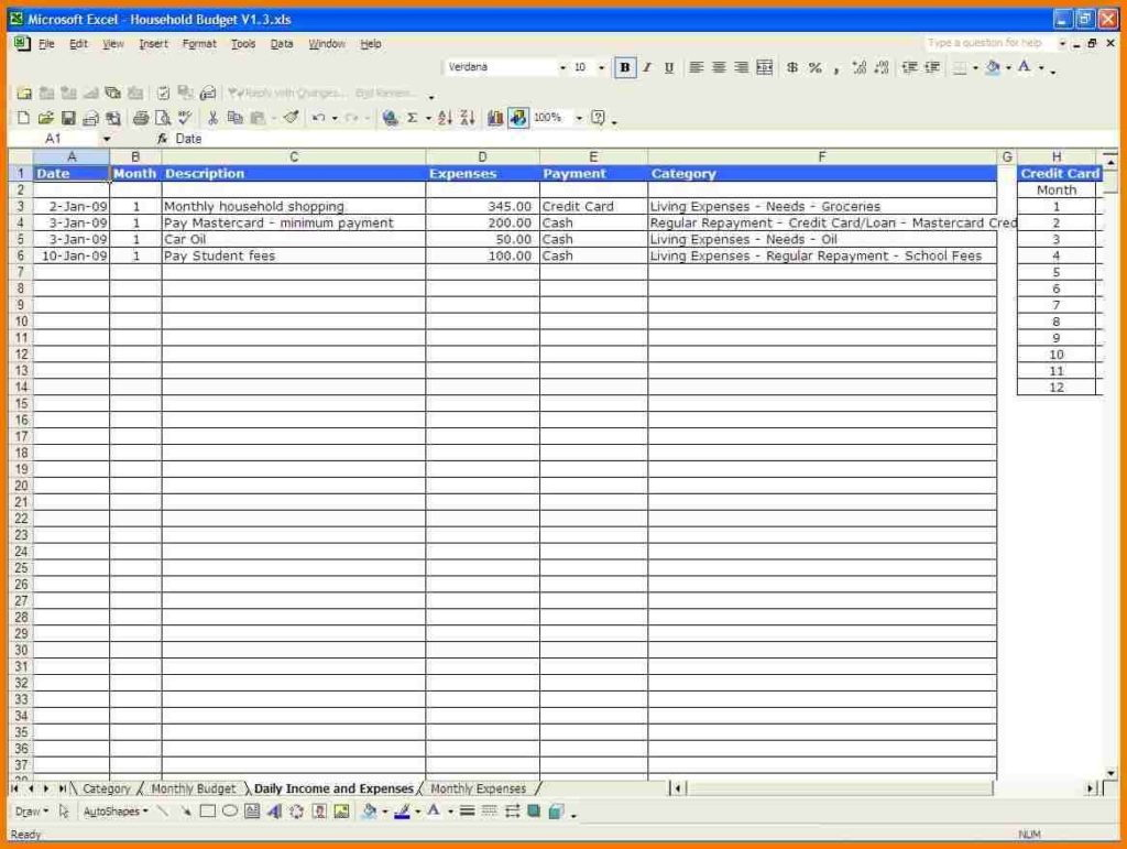 Monthly Household Budget Template Excel Uk