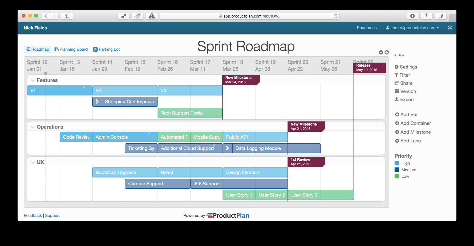 Multiple Project Roadmap Template