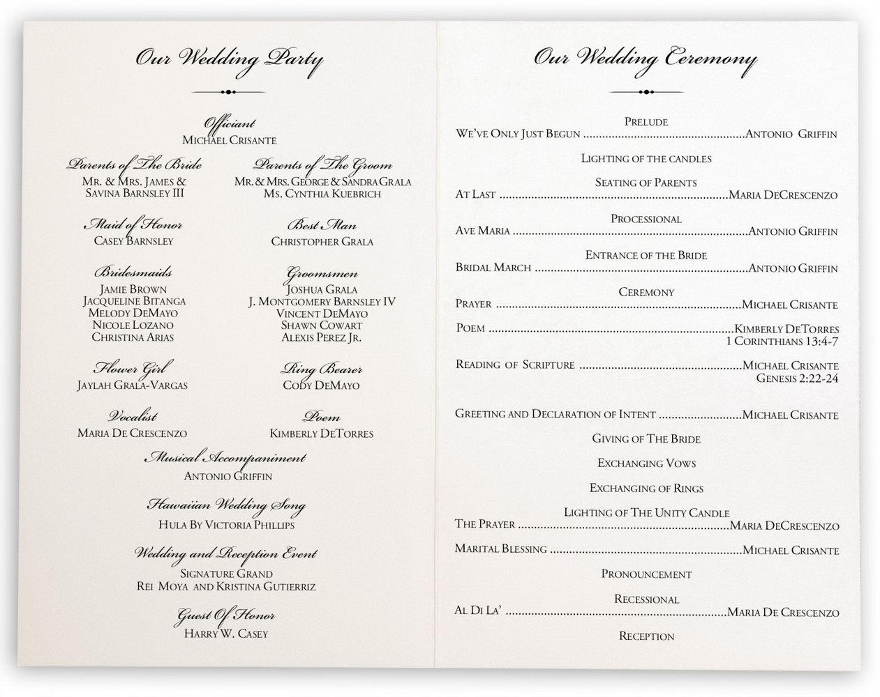 Naming Ceremony Program Template