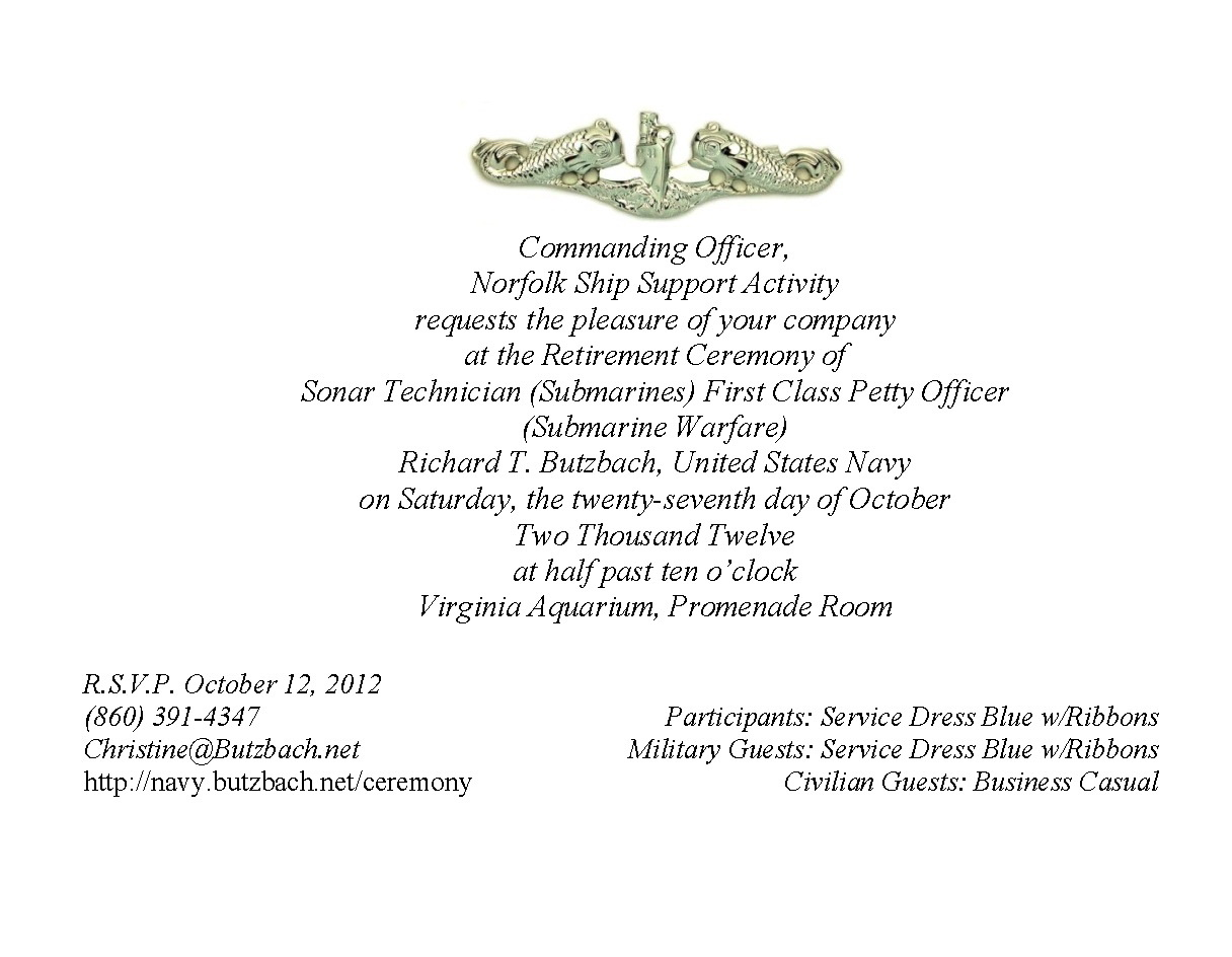 Navy Retirement Invitation Template
